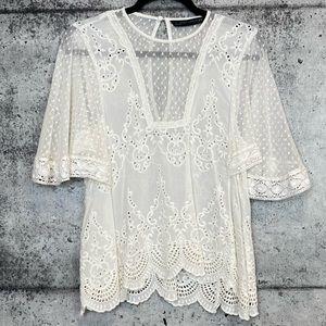 Zara // Crochet Flowy Sleeve Sheer Blouse